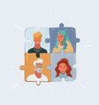 project team with puzzles vector image vector image