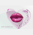 red lips and heart vector image vector image