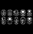 set of black and white skulls vector image
