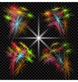 Set of colored fireworks exploding in the dark vector image