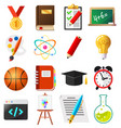 set of flat school and education icons vector image vector image