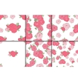Set of six seamless floral patterns vector image vector image
