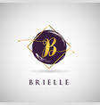 simple elegance initial letter b gold logo type vector image vector image