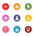 snow miracle icons set flat style vector image