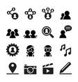social network social media icon set vector image vector image