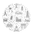 Travel landmarks line icon set vector image vector image