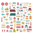 trip set icons vacation vector image