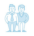 two friends or colleagues are standing together vector image vector image