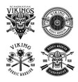 viking or norse warriors set emblems vector image vector image