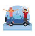 young couple happy and jumping vector image vector image