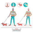 a hipster walking with a dog vector image