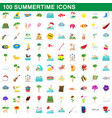 100 summertime icons set cartoon style vector image