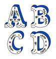 hand lettering drawing set of cute letters with vector image