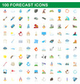 100 forecast icons set cartoon style vector image vector image