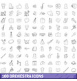 100 orchestra icons set outline style vector image