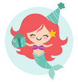 birthday mermaid vector image vector image