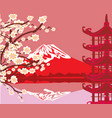 card with asian buildings and mount fuji