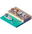 cargo ship unloading in seaport isometric vector image vector image