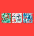 christmas animal folk icon seamless pattern set vector image