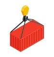Crane lifts a red container with cargo vector image