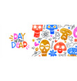 day dead banner cute watercolor skull cartoon vector image vector image