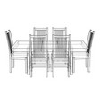 dinner table with chairs rendering 3d vector image vector image