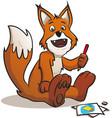 doodling cute fox cartoon vector image