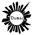 Dubai City skyline black and white silhouette vector image vector image