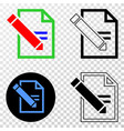 edit text page eps icon with contour vector image