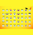 emoji icons in medical mask on yellow vector image