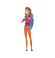 female tourist standing with backpack young woman vector image vector image