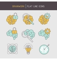 Flat line brainwork icons set vector image