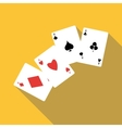 Four aces playing cards icon flat style vector image vector image