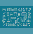 furniture line icons set collection vector image
