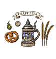 german stein beer mug bavarian pretzel hop cone vector image vector image