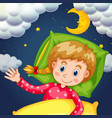 girl sleeping at night time vector image vector image