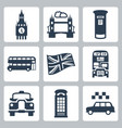 great britain london icons set vector image