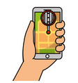 hand holding smartphone gps navigation street vector image vector image