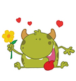 Happy Green Monster Holding A Yellow Flower vector image vector image