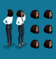 isometry icons of the emotion of a business woman vector image vector image