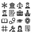 law and justice icons set on white background vector image vector image