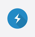 lightning Flat Blue Simple Icon with long shadow vector image