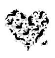 magic unicorns collection black silhouette for vector image