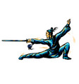 master wushu shaolin warrior in a blue kimono vector image