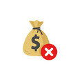 money disapproved sign icon flat money bag vector image vector image