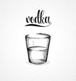 Monochrome vodka in glass with calligraphy Sketch vector image vector image