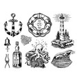 nautical adventure set sea lighthouse jellyfish vector image vector image