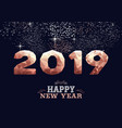 new year 2019 copper low poly greeting card vector image vector image