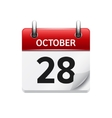 October 28 flat daily calendar icon Date vector image vector image