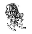 rocking chair and plaid engraving vector image